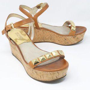 Michael Kors Tan Cork Wedge Sandals